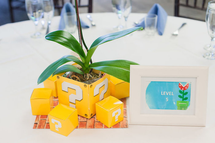 Mario Box Plant Table Centerpiece from a Nintendo Super Mario Baby Shower on Kara's Party Ideas | KarasPartyIdeas.com (26)