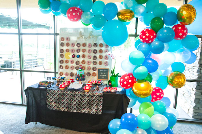 Mario Themed Sweet Table from a Nintendo Super Mario Baby Shower on Kara's Party Ideas | KarasPartyIdeas.com (7)