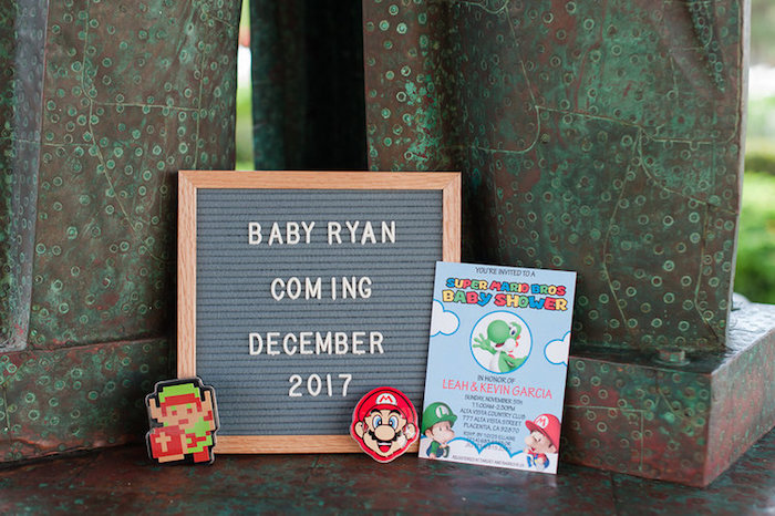 Signage from a Nintendo Super Mario Baby Shower on Kara's Party Ideas | KarasPartyIdeas.com (6)