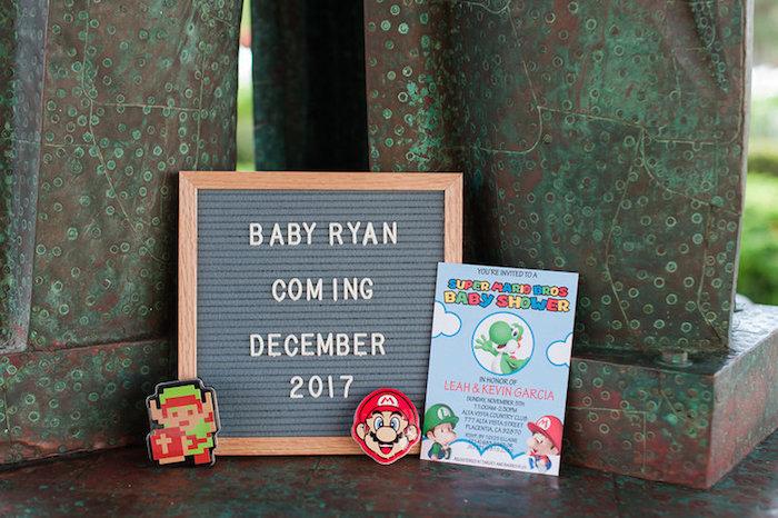 Signage from a Nintendo Super Mario Baby Shower on Kara's Party Ideas | KarasPartyIdeas.com (6)