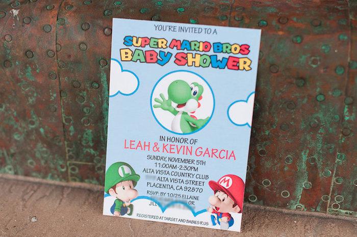 Mario Party Invite from a Nintendo Super Mario Baby Shower on Kara's Party Ideas | KarasPartyIdeas.com (5)