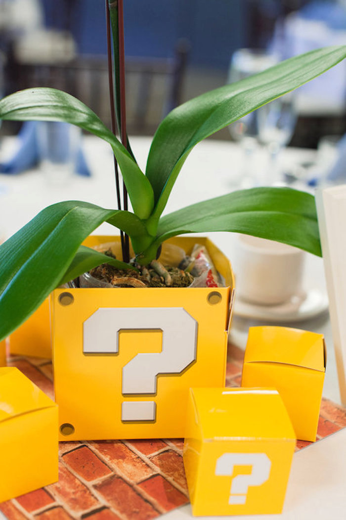 Coin Box Plant Centerpiece from a Nintendo Super Mario Baby Shower on Kara's Party Ideas | KarasPartyIdeas.com (24)