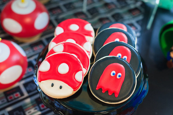 Toad + Pac Man Ghost Cookies from a Nintendo Super Mario Baby Shower on Kara's Party Ideas | KarasPartyIdeas.com (21)