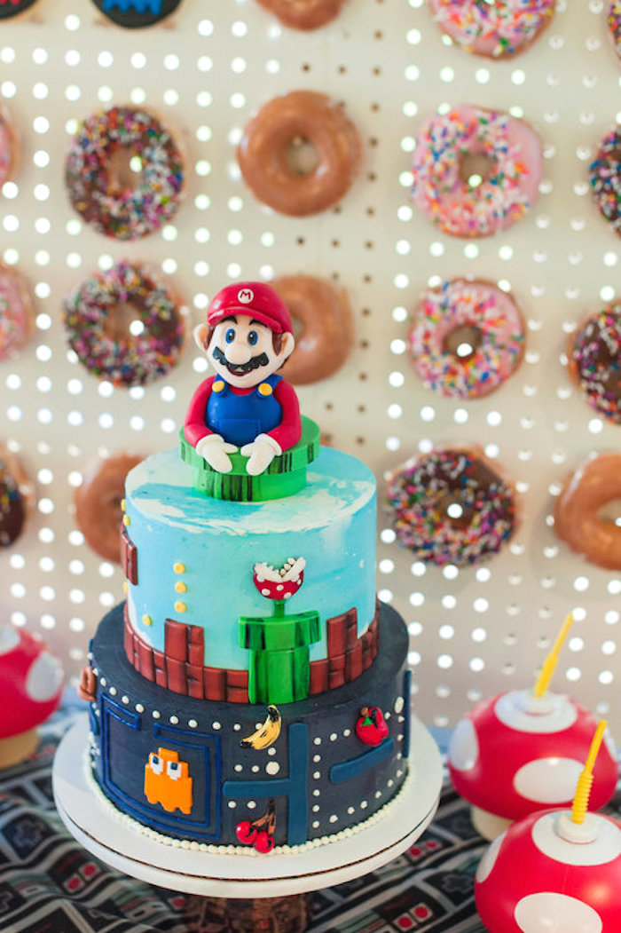 Mario + Pac Man Cake from a Nintendo Super Mario Baby Shower on Kara's Party Ideas | KarasPartyIdeas.com (19)