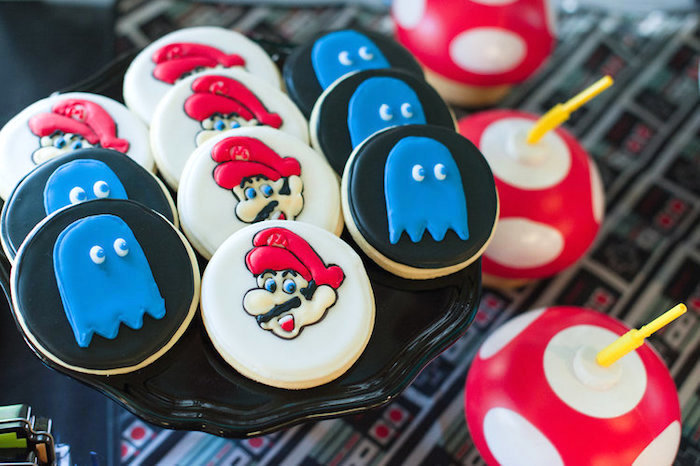 Mario & Pac Man Ghost Cookies from a Nintendo Super Mario Baby Shower on Kara's Party Ideas | KarasPartyIdeas.com (18)