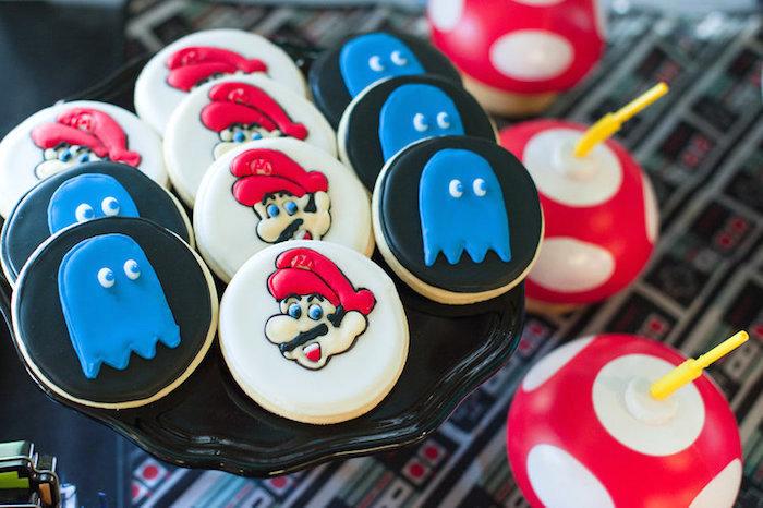 Mario & Pac Man Ghost Cookies from a Nintendo Super Mario Baby Shower on Kara's Party Ideas | KarasPartyIdeas.com (18)