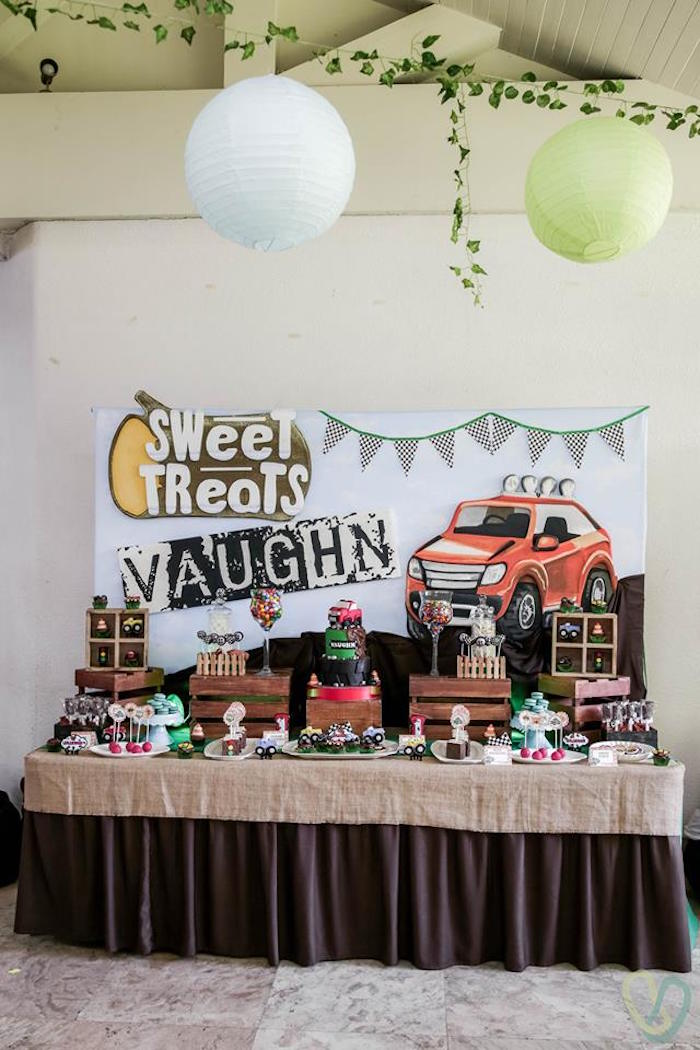 Rugged Sweet Table from an Off-Road Adventure Birthday Party on Kara's Party Ideas | KarasPartyIdeas.com (7)