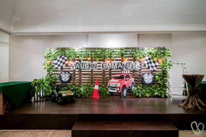 Backdrop from an Off-Road Adventure Birthday Party on Kara's Party Ideas | KarasPartyIdeas.com (6)