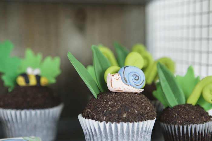 Snail Cupcake from an Outdoor Adventure Birthday Party on Kara's Party Ideas | KarasPartyIdeas.com (7)