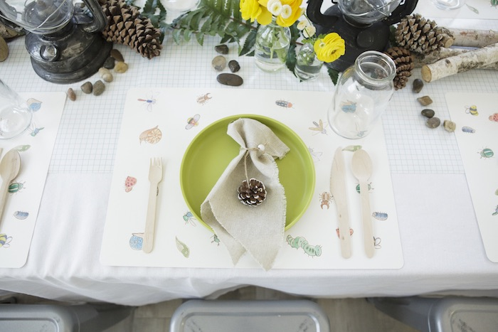 Bug Table Setting from an Outdoor Adventure Birthday Party on Kara's Party Ideas | KarasPartyIdeas.com (40)