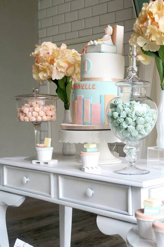Dessert Table from a Pastel Book Themed 1st Birthday Party on Kara's Party Ideas | KarasPartyIdeas.com (10)