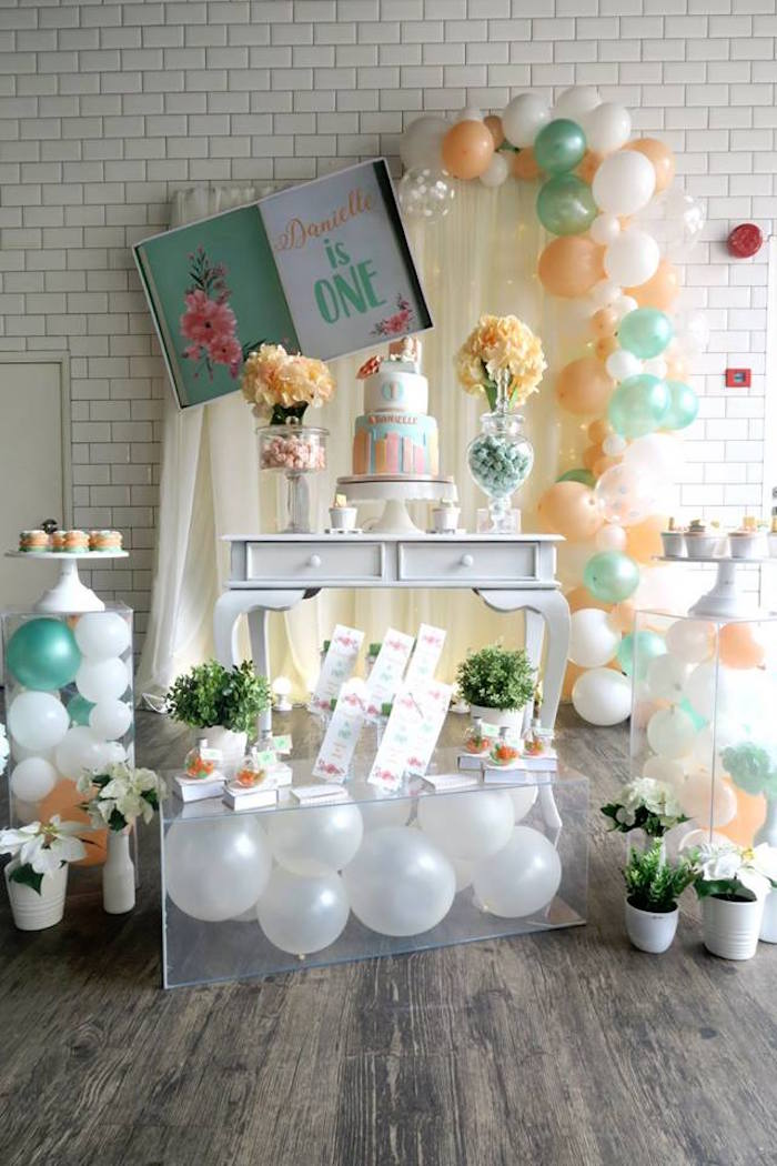 Pastel Book Themed 1st Birthday Party on Kara's Party Ideas | KarasPartyIdeas.com (9)