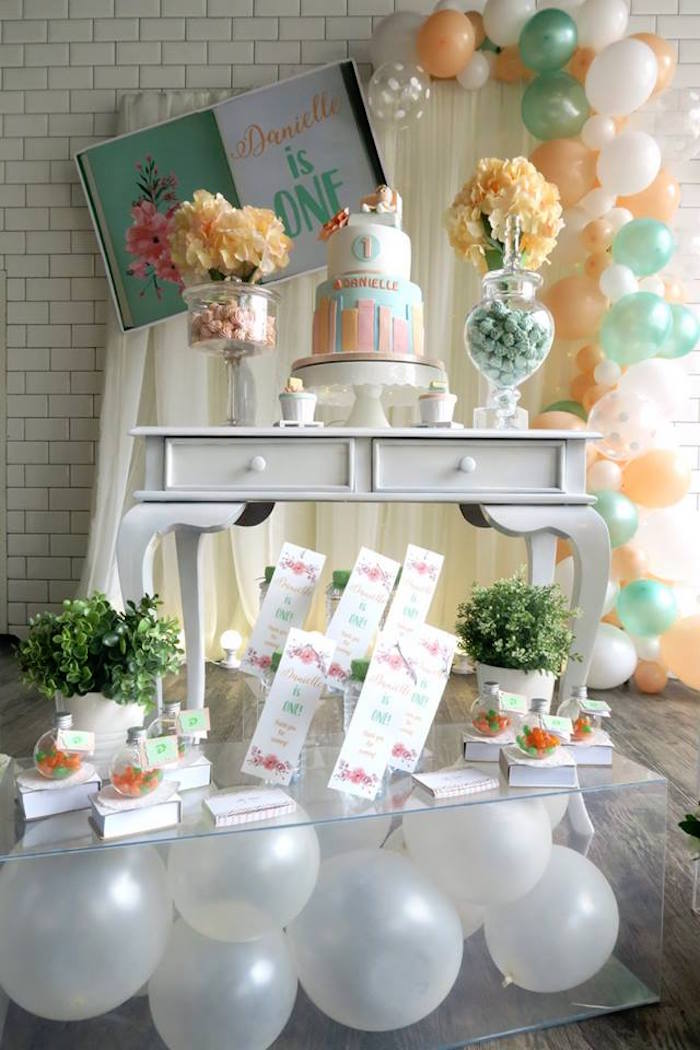 Pastel Book Themed 1st Birthday Party on Kara's Party Ideas | KarasPartyIdeas.com (8)