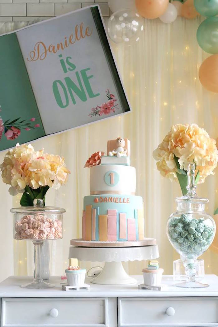 Cake Table from a Pastel Book Themed 1st Birthday Party on Kara's Party Ideas | KarasPartyIdeas.com (7)