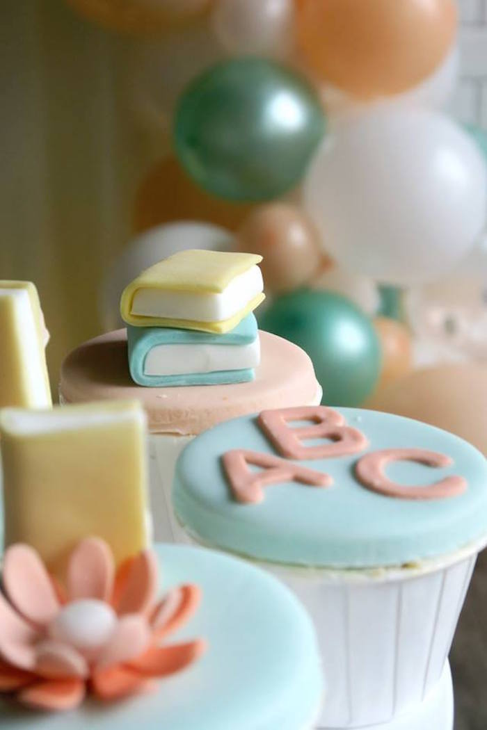 Reading Themed Cupcakes from a Pastel Book Themed 1st Birthday Party on Kara's Party Ideas | KarasPartyIdeas.com (17)