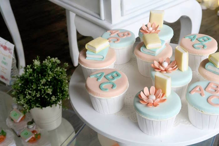 Book-inspired Cupcakes from a Pastel Book Themed 1st Birthday Party on Kara's Party Ideas | KarasPartyIdeas.com (14)