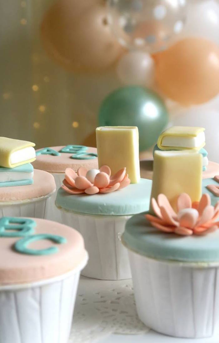 Book-inspired Cupcakes from a Pastel Book Themed 1st Birthday Party on Kara's Party Ideas | KarasPartyIdeas.com (13)