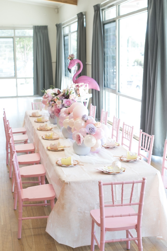 Flamingo Themed Guest Table from a Pastel Floral Flamingo Birthday Party on Kara's Party Ideas | KarasPartyIdeas.com (18)