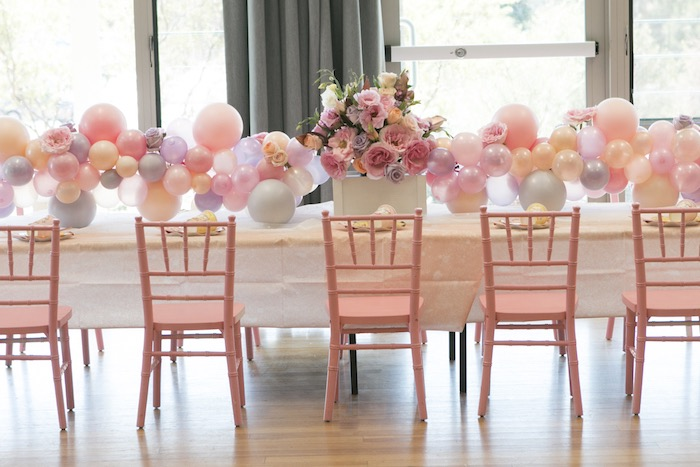 Pink + White Guest Table from a Pastel Floral Flamingo Birthday Party on Kara's Party Ideas | KarasPartyIdeas.com (15)