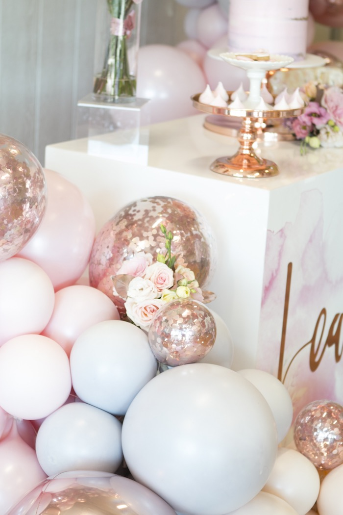 Glam Balloons from a Pastel Floral Flamingo Birthday Party on Kara's Party Ideas | KarasPartyIdeas.com (13)