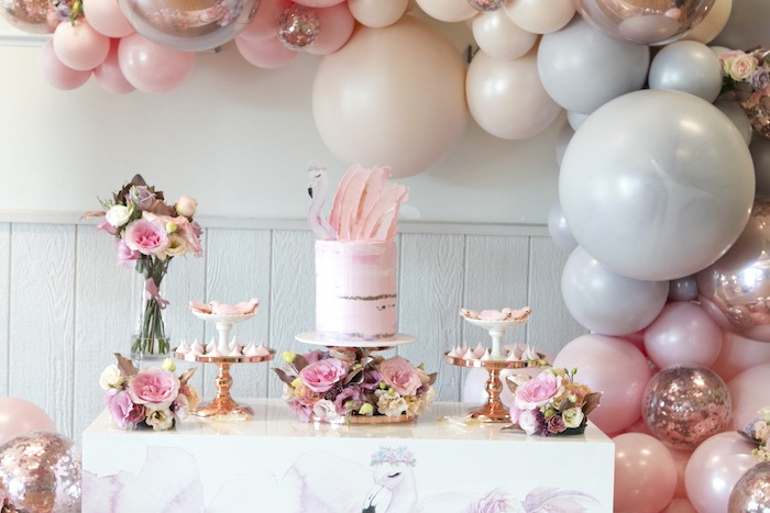 Flamingo Themed Dessert Table from a Pastel Floral Flamingo Birthday Party on Kara's Party Ideas | KarasPartyIdeas.com (12)