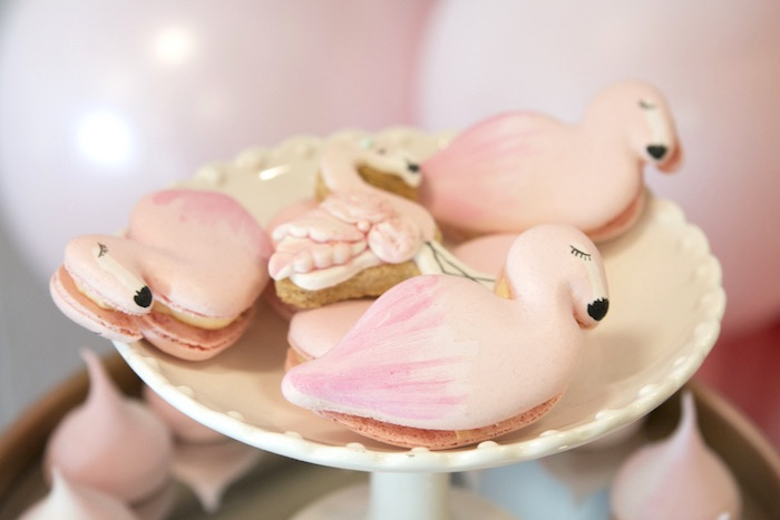 Flamingo Macarons from a Pastel Floral Flamingo Birthday Party on Kara's Party Ideas | KarasPartyIdeas.com (11)