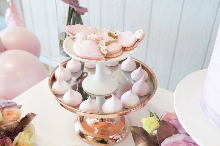 Glam Dessert Pedestal from a Pastel Floral Flamingo Birthday Party on Kara's Party Ideas | KarasPartyIdeas.com (10)