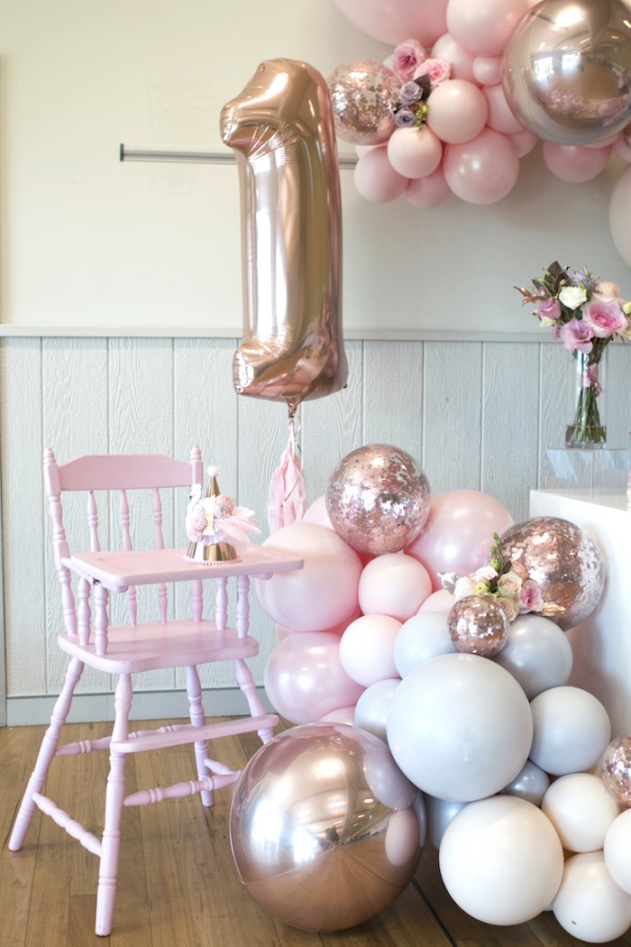 Balloon Highchairscape from a Pastel Floral Flamingo Birthday Party on Kara's Party Ideas | KarasPartyIdeas.com (9)