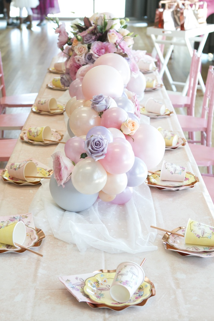 Pastel Balloon Garland + Table Runner from a Pastel Floral Flamingo Birthday Party on Kara's Party Ideas | KarasPartyIdeas.com (20)