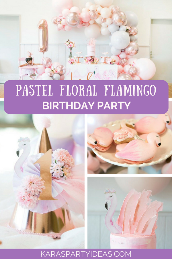Pastel Floral Flamingo Birthday Party via Kara's Party Ideas - KarasPartyIdeas.com