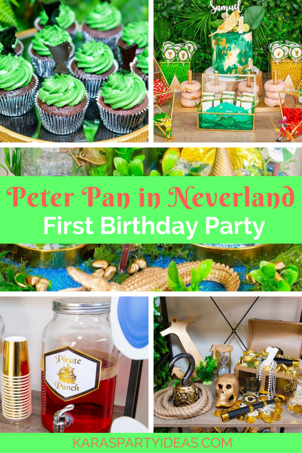Pleasing Karas Party Ideas Peter Pan In Neverland First Birthday Party Personalised Birthday Cards Beptaeletsinfo