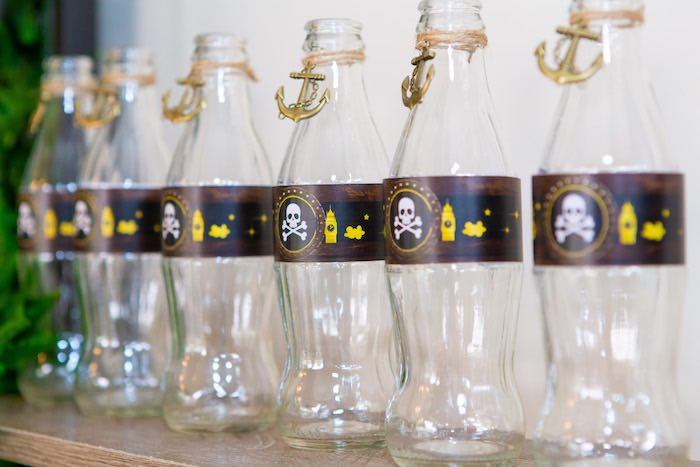 Pirate Drink Bottles from a Peter Pan in Neverland First Birthday Party on Kara's Party Ideas | KarasPartyIdeas.com (33)
