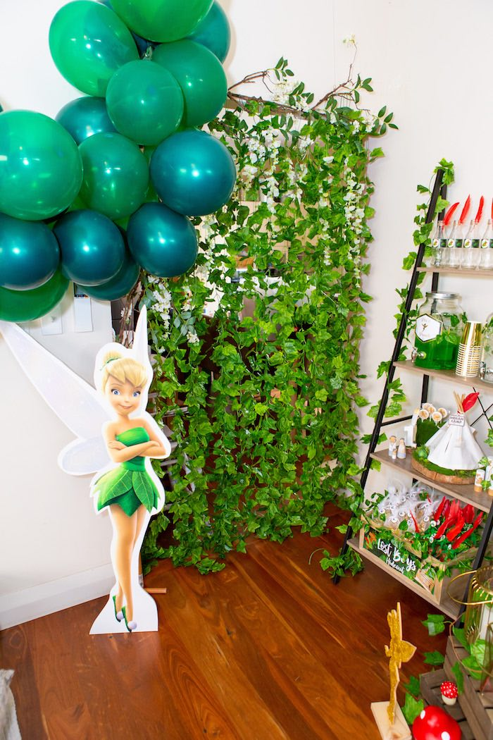 Pixie Hollow Party Shelf from a Peter Pan in Neverland First Birthday Party on Kara's Party Ideas | KarasPartyIdeas.com (30)