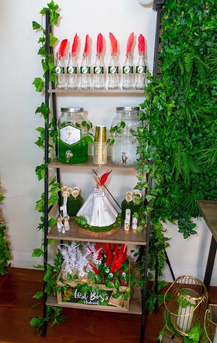 Pixie Hollow Party Shelf from a Peter Pan in Neverland First Birthday Party on Kara's Party Ideas | KarasPartyIdeas.com (29)