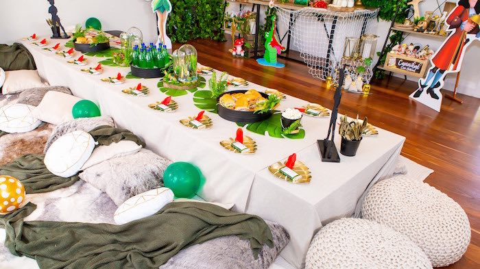 Neverland Themed Guest Table from a Peter Pan in Neverland First Birthday Party on Kara's Party Ideas | KarasPartyIdeas.com (19)