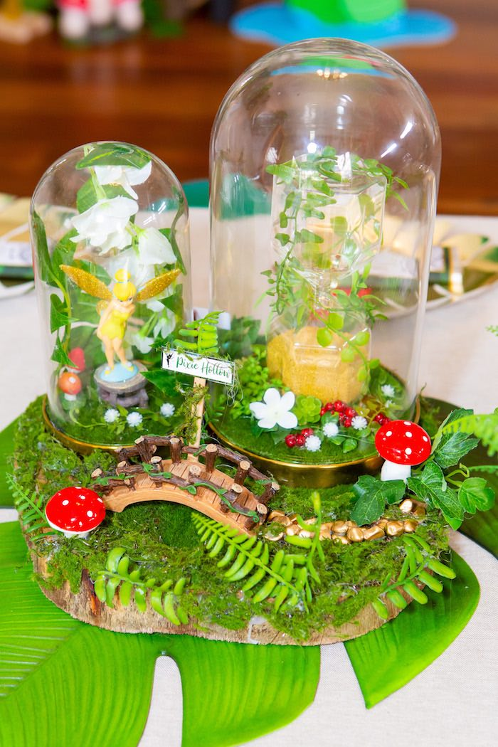 Pixie Hollow Table Centerpiece from a Peter Pan in Neverland First Birthday Party on Kara's Party Ideas | KarasPartyIdeas.com (17)