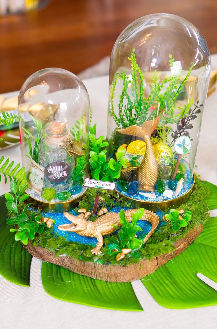 Crocodile Creek + Hook Themed Table Centerpiece from a Peter Pan in Neverland First Birthday Party on Kara's Party Ideas | KarasPartyIdeas.com (16)