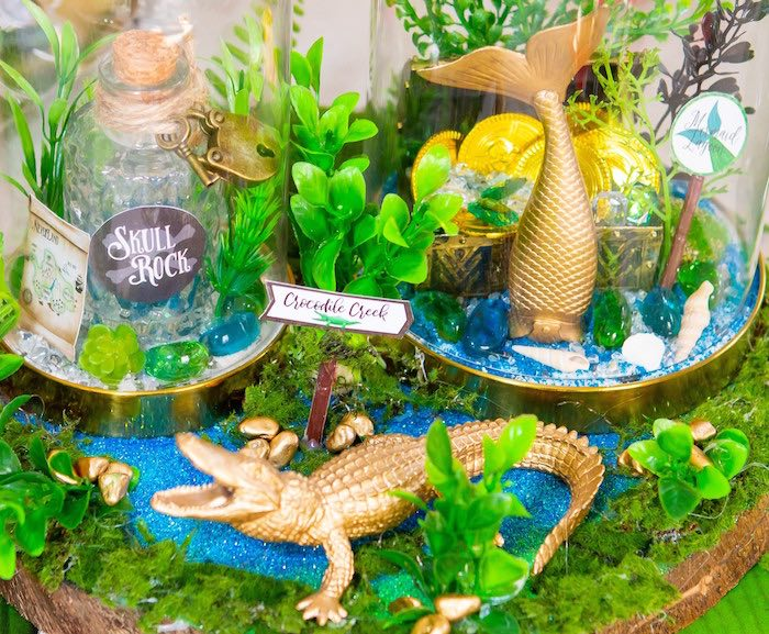 Crocodile Creek Table Centerpiece from a Peter Pan in Neverland First Birthday Party on Kara's Party Ideas | KarasPartyIdeas.com (15)