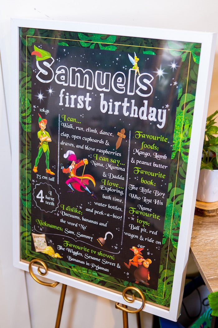 Peter Pan-inspired Milestone Board from a Peter Pan in Neverland First Birthday Party on Kara's Party Ideas | KarasPartyIdeas.com (11)