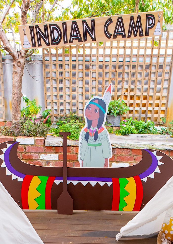 Indian Camp from a Peter Pan in Neverland First Birthday Party on Kara's Party Ideas | KarasPartyIdeas.com (8)
