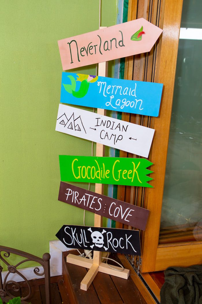 Neverland Directional Signage from a Peter Pan in Neverland First Birthday Party on Kara's Party Ideas | KarasPartyIdeas.com (7)