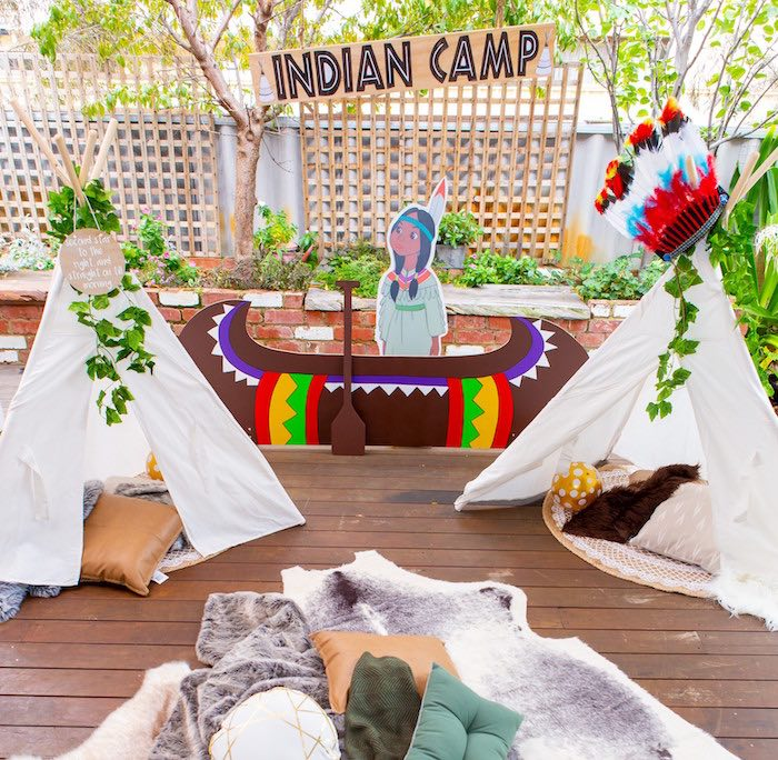 Indian Camp from a Peter Pan in Neverland First Birthday Party on Kara's Party Ideas | KarasPartyIdeas.com (6)
