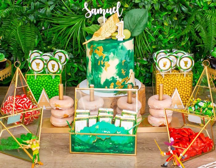 Peter Pan Dessert Table from a Peter Pan in Neverland First Birthday Party on Kara's Party Ideas | KarasPartyIdeas.com (39)