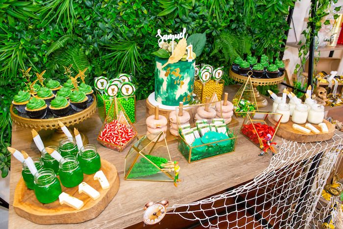 Peter Pan Dessert Table from a Peter Pan in Neverland First Birthday Party on Kara's Party Ideas | KarasPartyIdeas.com (37)