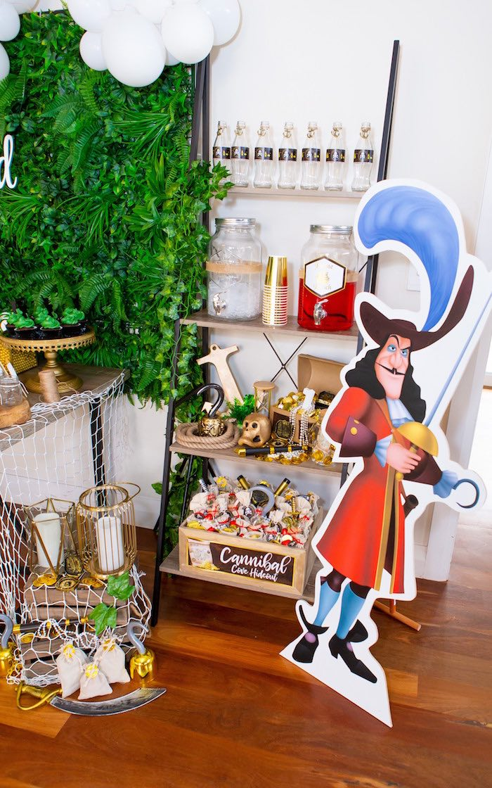 Captain Hook Party Shelf from a Peter Pan in Neverland First Birthday Party on Kara's Party Ideas | KarasPartyIdeas.com (35)