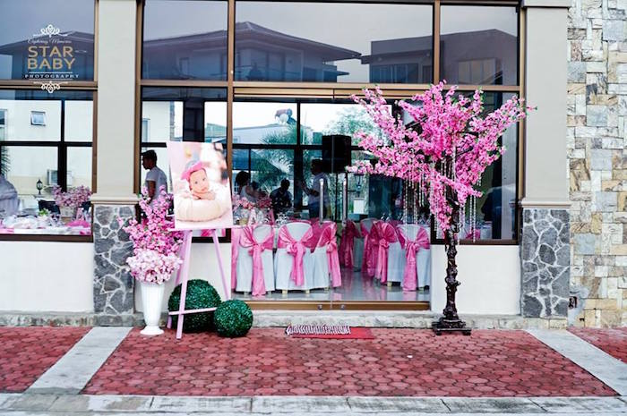 Entrance from a Pink Cherry Blossom Christening Party on Kara's Party Ideas | KarasPartyIdeas.com (21)