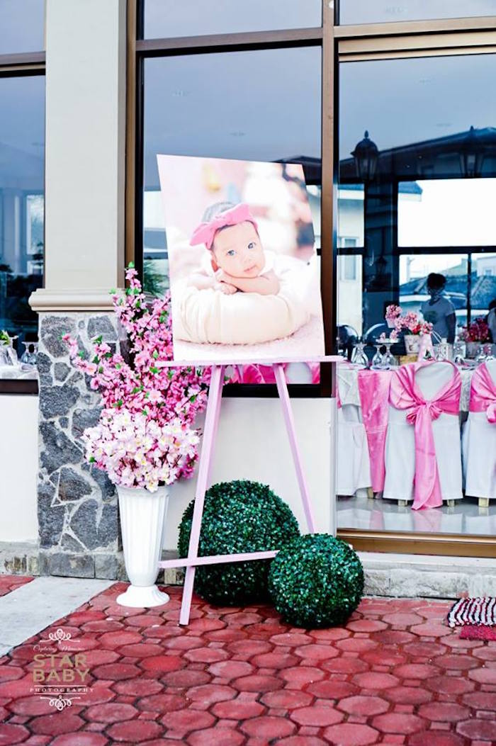 Highlight Photo from a Pink Cherry Blossom Christening Party on Kara's Party Ideas | KarasPartyIdeas.com (20)