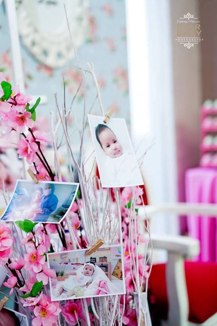 Cherry Blossom Photo Tree from a Pink Cherry Blossom Christening Party on Kara's Party Ideas | KarasPartyIdeas.com (16)