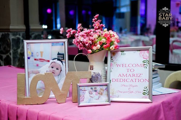 Welcome Table from a Pink Cherry Blossom Christening Party on Kara's Party Ideas | KarasPartyIdeas.com (14)