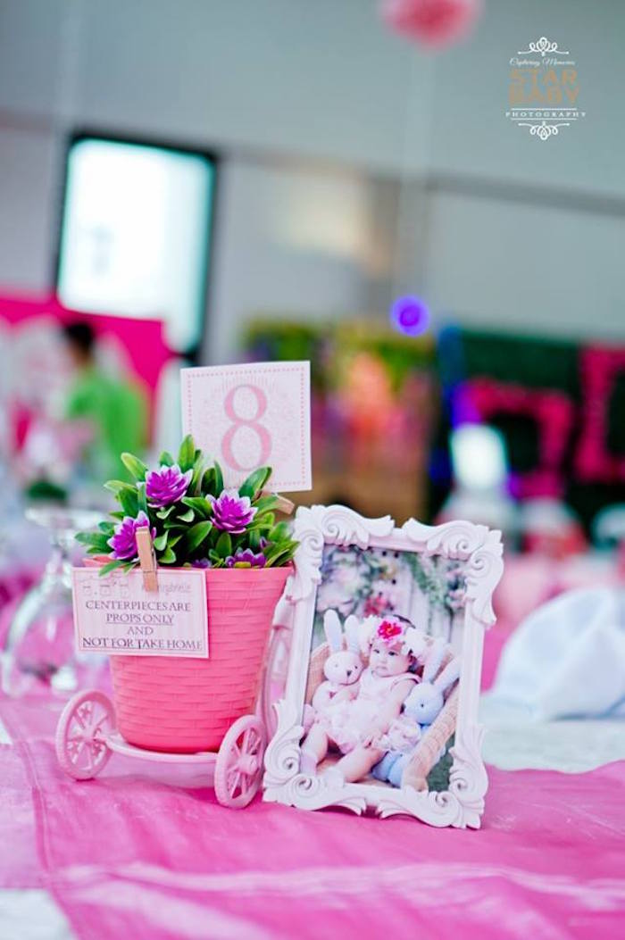 Guest Table Centerpiece from a Pink Cherry Blossom Christening Party on Kara's Party Ideas | KarasPartyIdeas.com (9)
